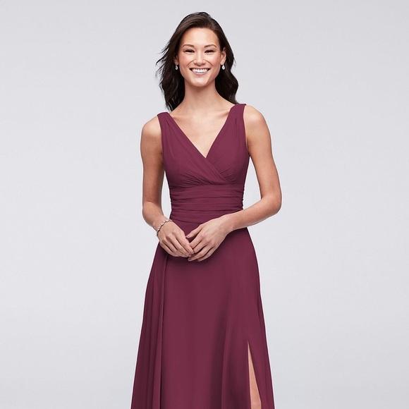 a82495dbf27 David s Bridal Dresses   Skirts - SURPLICE TANK LONG CHIFFON BRIDESMAID  DRESS F19831